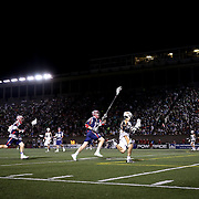 On field action between the Boston Cannons and the Rochester Rattlers is seen during the game at Harvard Stadium on August 9, 2014 in Boston, Massachusetts. (Photo by Elan Kawesch)