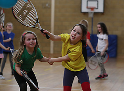 Primary three pupils Holly Anderson (left) with Emily Sorbie alongside classmates at Dunblane Primary as they take part in the schools Miss-hits Tennis club in Andy Murray's home town, he has said he is aiming to end his career after Wimbledon but the Australian Open may be his last tournament.