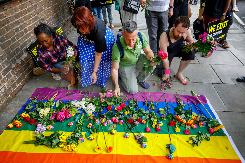 © Licensed to London News Pictures. 02/06/2017. London, UK. Activists leave flowers outside the Russian Embassy in London, calling on the Russian authorities to fully investigate reports of a crackdown and torture on LGBTI people in Chechnya. Photo credit: Tolga Akmen/LNP