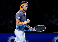 Tennis - 2019 Nitto ATP Finals at The O2 - Day Seven<br /> <br /> Semi Finals: Dominic Thiem (Austria) Vs. Alexander Zverev (Germany)<br /> <br /> Dominic Thiem (Austria) allows himself a small celebration between games <br /> <br /> COLORSPORT/DANIEL BEARHAM<br /> <br /> COLORSPORT/DANIEL BEARHAM