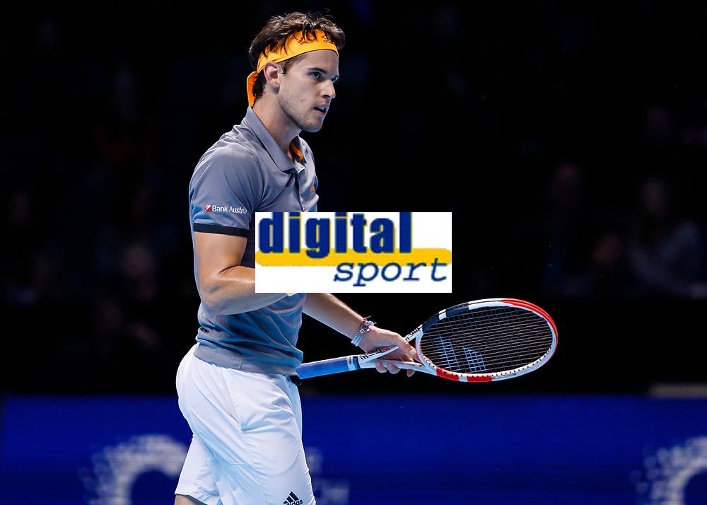 Tennis - 2019 Nitto ATP Finals at The O2 - Day Seven<br /> <br /> Semi Finals: Dominic Thiem (Austria) Vs. Alexander Zverev (Germany)<br /> <br /> Dominic Thiem (Austria) allows himself a small celebration between games <br /> <br /> COLORSPORT/DANIEL BEARHAM<br /> <br /> COLORSPORT/DANIEL BEARHAM