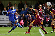 AFC Wimbledon midfielder Tom Soares (19) with a shot on goal during the EFL Sky Bet League 1 match between AFC Wimbledon and Bradford City at the Cherry Red Records Stadium, Kingston, England on 2 October 2018.