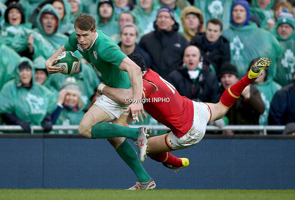 RBS 6 Nations Championship Round 1, Aviva Stadium, Dublin 7/2/2016<br /> Ireland vs Wales<br /> Ireland's Andrew Trimble tackled by Tom James of Wales<br /> Mandatory Credit &copy;INPHO/Dan Sheridan