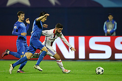 Leonardo Sigali of GNK Dinamo Zagreb vs Jordan Ferri of Lyon during football match between GNK Dinamo Zagreb and Olympique Lyonnais in Group H of Group Stage of UEFA Champions League 2016/17, on November 22, 2016 in Stadium Maksimir, Zagreb, Croatia. Photo by Morgan Kristan / Sportida