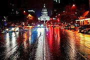 Rainy night on Congress Avenue, Austin, Texas, August 18, 2012.
