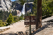 Trail sign on the John Muir Trail below Nevada Fall , Yosemite National Park, California USA