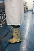 Personalised insulated, anti-slip Dunlop Acifort Wellington boots are worn during a shift at importers New England Seafoods