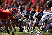 The Abilene Christian defensive lines up against the Pittsburg State offensive line during Saturday's college football game between the Abilene Christian Wildcats and the Pittsburg State Gorillas at Carnie Smith Stadium on October 5, 2013 in Pittsburg, Kansas. (David Welker)
