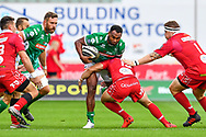 Iliesa Ratuva of Benetton Treviso is tackled by Kieron Fonotia of Scarlets<br /> <br /> Photographer Craig Thomas/Replay Images<br /> <br /> Guinness PRO14 Round 3 - Scarlets v Benetton Treviso - Saturday 15th September 2018 - Parc Y Scarlets - Llanelli<br /> <br /> World Copyright &copy; Replay Images . All rights reserved. info@replayimages.co.uk - http://replayimages.co.uk