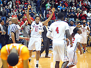 "Mississippi Rebels forward Sebastian Saiz (11) reacts to the win against Tennessee at the C.M. ""Tad"" Smith Coliseum in Oxford, Miss. on Saturday, February 21, 2015. Mississippi won 59-57. (AP Photo/Oxford Eagle, Bruce Newman)"