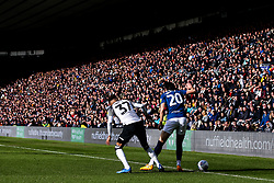 Ben Brereton of Blackburn Rovers takes on Jayden Bogle of Derby County - Mandatory by-line: Robbie Stephenson/JMP - 08/03/2020 - FOOTBALL - Pride Park Stadium - Derby, England - Derby County v Blackburn Rovers - Sky Bet Championship