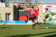 Forest Green Rovers Chris Clements(22) shoots at goal scores a goal 0-1 during the EFL Sky Bet League 2 match between Morecambe and Forest Green Rovers at the Globe Arena, Morecambe, England on 17 February 2018. Picture by Shane Healey.