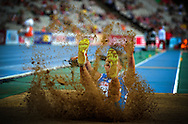 Italy's Fabrizio Schembri  competes during the men's triple jump final at the 2010 European Athletics Championships at the Olympic Stadium in Barcelona on July 29, 2010