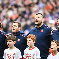 (L-R) Baptiste Serein, Camille Lopez, Damien Chouly and Remi Lamerat of France during the RBS Six Nations match between France and Wales at Stade de France on March 18, 2017 in Paris, France. (Photo by Anthony Dibon/Icon Sport)