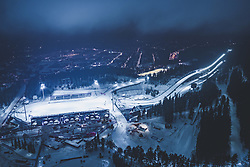 THEMENBILD - Blick auf die finnische Stadt Lahti mit den Lichtern der Stadt im Winter mit Schnee bedeckt mit der Skisprung Schanzen Anlage und dem Stadion Lahti. aufgenommen am 09. Februar 2019 in Lahti, Finnland // View of the Finnish city Lahti with the lights of the city in winter covered with snow with ski jumping hills and the Stadium. Lahti, Finland on 2019/02/09. EXPA Pictures © 2019, PhotoCredit: EXPA/ JFK