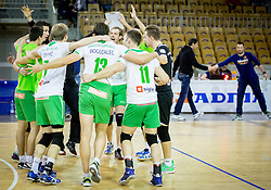 Players of Panvita celebrate after winning during volleyball game between OK ACH Volley and OK Panvita Pomgrad in 1st final match of Slovenian National Championship 2013/14, on April 6, 2014 in Arena Tivoli, Ljubljana, Slovenia. Photo by Vid Ponikvar / Sportida