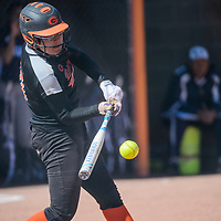 Gallup Bengal Megan Watchman (15) connects with a pitch from the Window Rock Scouts Tuesday at Gallup High School.