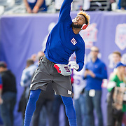 Oct 25, 2015; East Rutherford, NJ, USA; New York Giants wide receiver Odell Beckham (13) warms up in pre game at MetLife Stadium. Mandatory Credit: William Hauser-USA TODAY Sports