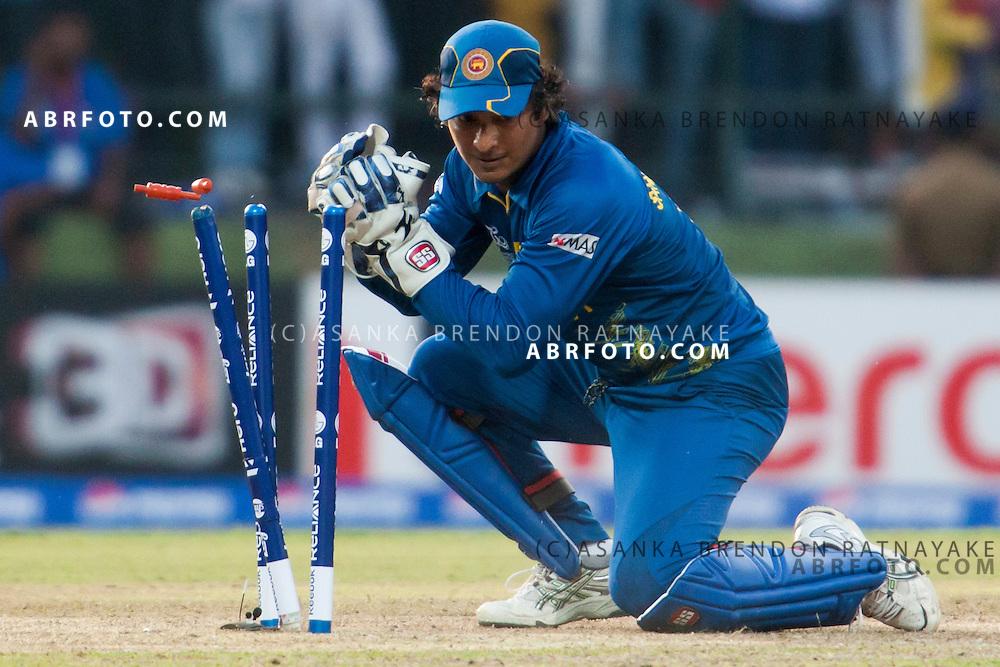 Kumar Sangakarra Stumping during the ICC world Twenty20 Cricket held in Sri Lanka.
