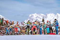 21.02.2019, Langlauf Arena, Seefeld, AUT, FIS Weltmeisterschaften Ski Nordisch, Seefeld 2019, Langlauf, Damen, Sprint, im Bild v.l.: Sophie Caldwell (USA), Yulia Belorukova (RUS), Katja Visnar (SLO), Kristine Stavaas Skistad (NOR) // f.l.: Sophie Caldwell of the USA Yulia Belorukova of Russian Federation Katja Visnar of Slovenia Kristine Stavaas Skistad of Norway during the ladie's Sprint competition of the FIS Nordic Ski World Championships 2019. Langlauf Arena in Seefeld, Austria on 2019/02/21. EXPA Pictures © 2019, PhotoCredit: EXPA/ Dominik Angerer