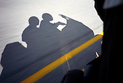 shadow of couple riding a motorcycle