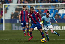 January 14, 2018 - Valencia, Valencia, Spain - Doukoure (L) of Levante UD competes for the ball with Iago Aspas of Real Club Celta de Vigo during the La Liga game between Levante UD and Real Club Celta de Vigo at Ciutat de Valencia stadium on January 14, 2018 in Valencia, Spain  (Credit Image: © David Aliaga/NurPhoto via ZUMA Press)