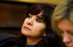 © Licensed to London News Pictures. 14/01/2017. London, UK. LAURA ALVAREZ, wife of Labour Party leader Jeremy Corbyn, listens to Jeremy Corbyn speaking at the Fabian Society conference in London on January 14, 2016. Corbyn has come under further pressure as leader following the resignation of Stoke-on-Trent, Tristram Hunt. Photo credit: Ben Cawthra/LNP
