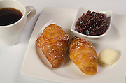 Breakfast with Croissant, jam and butter,