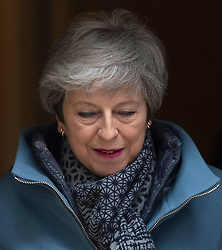 © Licensed to London News Pictures. 27/03/2019. British Prime Minister Theresa May leaves 10 Downing Street for the Prime Minister's Questions in the House of Commons. London, UK. Photo credit: Ray Tang/LNP