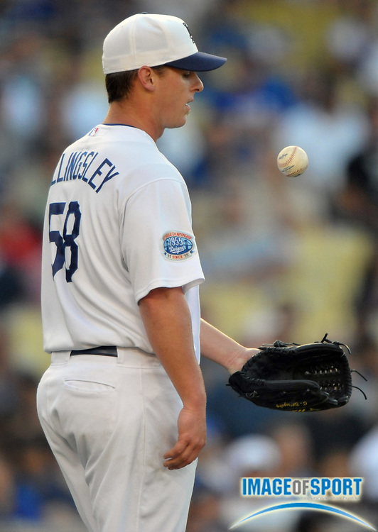 May 31, 2010; Los Angeles, CA, USA; Los Angeles Dodgers starter Chad Billingsley (58) reacts after surrendering his third home run of the game in the second inning against the Arizona Diamondbacks at Dodger Stadium.