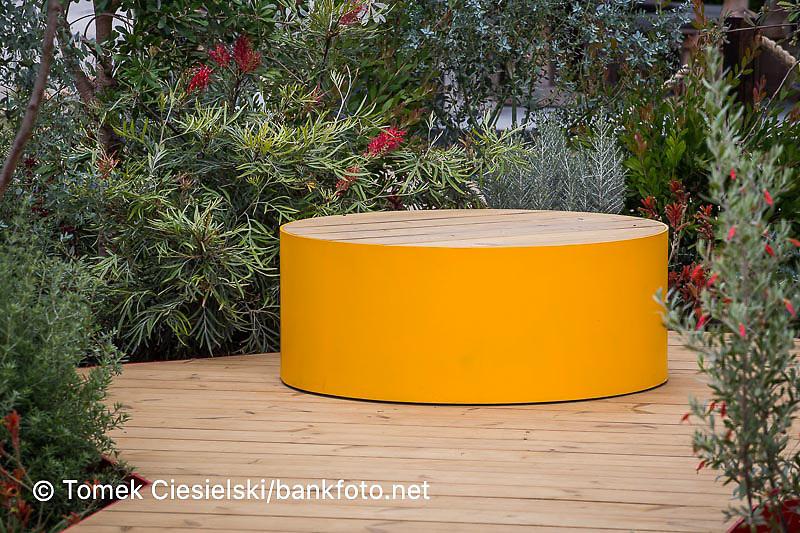 Modern oval bench located in australian garden