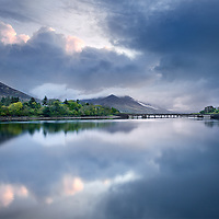 Dramatic Sunrise in Cahersiveen with View on the  heritage centre Old Barracks with bridge, County Kerry, Ireland / ch225<br />