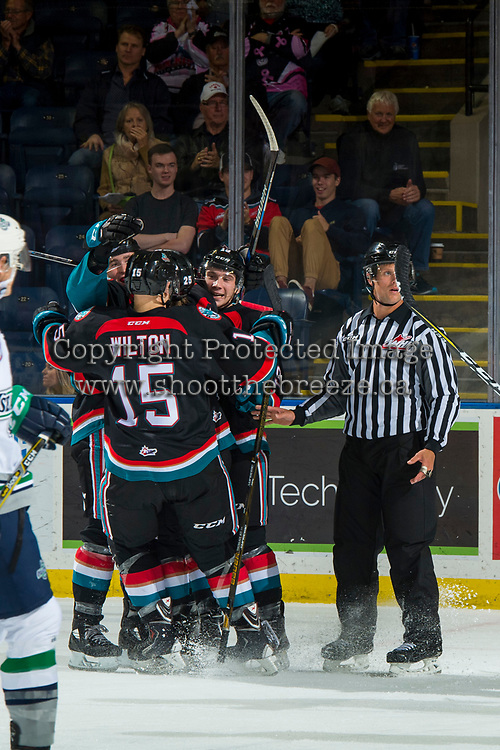 KELOWNA, CANADA - OCTOBER 10:  Dallon Wilton #15 of the Kelowna Rockets celebrates a goal against the Seattle Thunderbirds on October 10, 2018 at Prospera Place in Kelowna, British Columbia, Canada.  (Photo by Marissa Baecker/Shoot the Breeze)  *** Local Caption ***