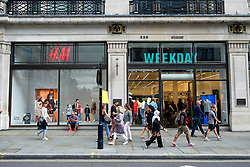 August 18, 2017 - London, London, UK - The new opening H&M group's first Weekday clothing store in Regent Street is situated next to a H&M store. Weekday is know for its offerings and minimalist styles, with 27 stores throughout Europe. The store is next to the H&M Arket lifestyle store. (Credit Image: © Ray Tang via ZUMA Press)