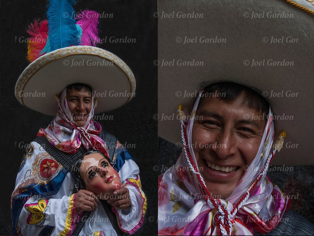 Mexican Day parade in NYC, two images of portrait of Mexican American wearing his sombrero showing his ethnic pride.<br />
