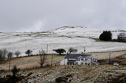 © Licensed to London News Pictures. 10/02/2020. Machynlleth, Powys, Wales, UK. Remote Y Star Inn is surrounded by a wintry landscape in the Cambrian mountains between Machynlleth and Llanidloes in Powys.  Photo credit: Graham M. Lawrence/LNP