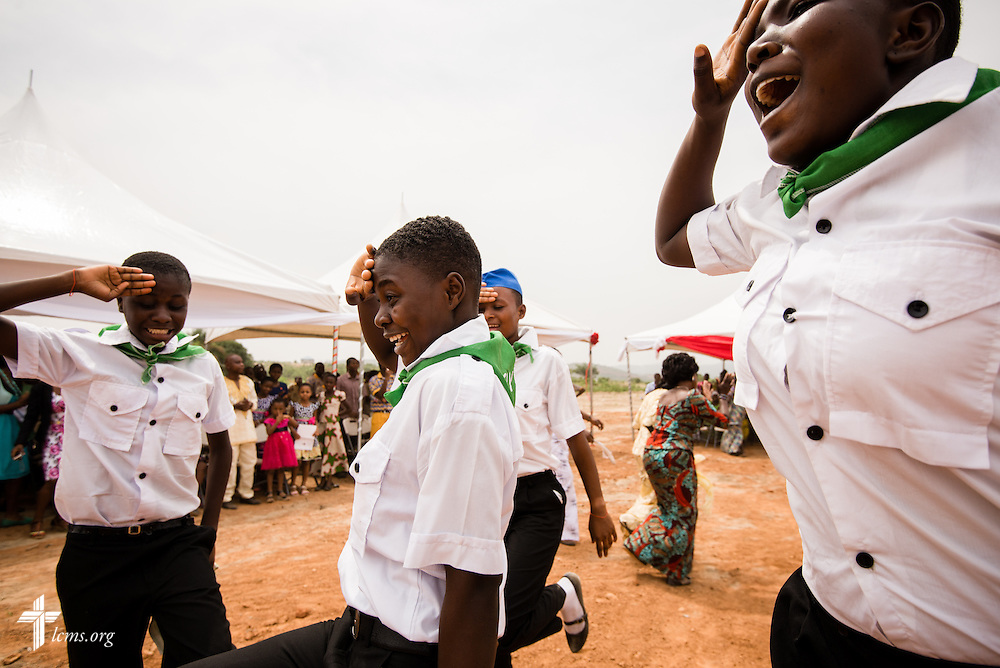 Young members dance during the the service and dedication of the Lutheran Theological Seminary of the Evangelical Lutheran Church of Ghana on Sunday, Feb. 2, 2014, in Greater Accra, Ghana. LCMS Communications/Erik M. Lunsford