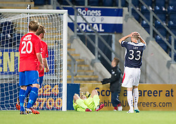 Falkirk's Rory Loy misses a penalty in extra-time after being fouled by Nat Wedderburn.<br /> Falkirk beat Cowdenbeath in a penalty shoot-out, second round League Cup tie played at The Falkirk Stadium.