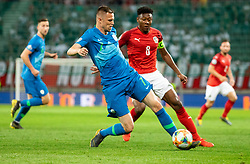 Josip Iličić of Slovenia vs David Alaba of Austria during the 2020 UEFA European Championships group G qualifying match between Austria and Slovenia at Wörthersee Stadion on June 7, 2019 in Klagenfurt, Austria. Photo by Vid Ponikvar / Sportida