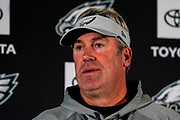 Philadelphia Eagles head coach Doug Pederson during the press, training and media day for Philadephia Eagles at London Irish Training Ground, Hazelwood Centre, United Kingdom on 26 October 2018. Picture by Jason Brown.