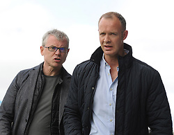 Sideline view former Derry and Mayo players now pundits Joe Brolly and David Brady at McHale Park on saturday.<br />Pic Conor McKeown