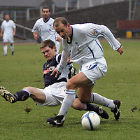 Dundee v St Johnstone....10.02.2007<br /> Paul Sheerin is brought down by Jay Shields for a penalty<br /> <br /> Picture by Graeme Hart.<br /> Copyright Perthshire Picture Agency<br /> Tel: 01738 623350  Mobile: 07990 594431