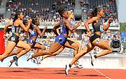 English Gardner (USA) wins the women's 100m in 11.02 during IAAF Birmingham Diamond League meeting at Alexander Stadium on Sunday, June 5, 2016, in Birmingham, United Kingdom. From right: Gardner, Dafne Schippers (NED), Tianna Bartoletta (USA), Dina Asher-Smith (GBR), Ashleigh Nelson (GBR),  Photo by Jiro Mochizuki