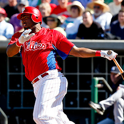 March 05, 2011; Clearwater, FL, USA; Philadelphia Phillies second baseman Hector Luna (29) hits a three run double against the New York Yankees during a spring training game at Bright House Networks Field. Mandatory Credit: Derick E. Hingle-US PRESSWIRE