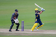 Will Smith of Hampshire batting and Ryan Davies of Somerset during the Royal London One Day Cup match between Hampshire County Cricket Club and Somerset County Cricket Club at the Ageas Bowl, Southampton, United Kingdom on 2 August 2016. Photo by David Vokes.