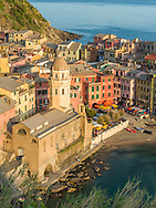 Santa Margherita di Antiochia Church in Vernazza, a town and comune located in northwestern Italy.  Vernazza is the fourth town heading north in the Cinque Terre region.