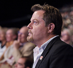 Eddie Izzard in the audience during Ed Miliband's keynote speech to the Labour Party Conference in Manchester, October 2, 2012. Photo by Elliott Franks / i-Images.