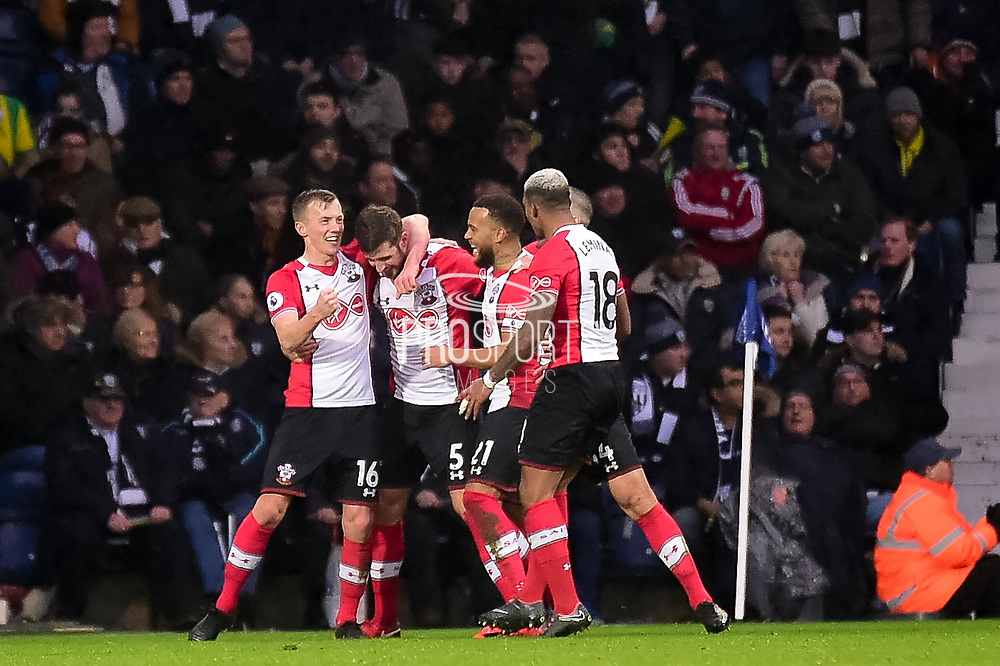 The Southampton players  celebrate Southampton defender Jack Stephens (5) goal 1-2 during the Premier League match between West Bromwich Albion and Southampton at The Hawthorns, West Bromwich, England on 3 February 2018. Picture by Dennis Goodwin.