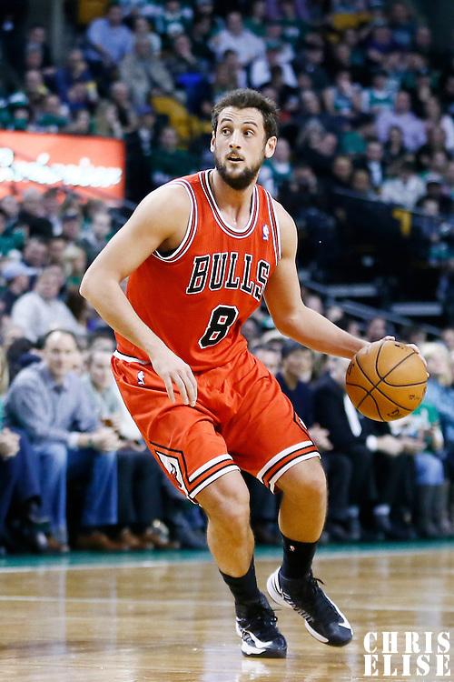 13 February 2013: Chicago Bulls shooting guard Marco Belinelli (8) dribbles during the Boston Celtics 71-69 victory over the Chicago Bulls at the TD Garden, Boston, Massachusetts, USA.