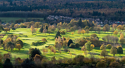 View of sunlit Stirling Golf Course during autumn in Stirling, Scotland, United Kingdom.
